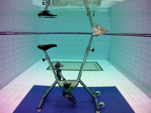 A picture of the underwater bike in one of our aquatic therapy pools.