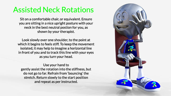A picture of the Team Rehab uk Mascot showing Neck Rotation exercises