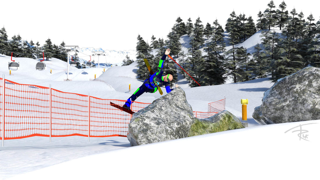 A picture of a ski crash for Team Rehab uk
